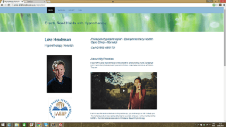 small screen shot of Luke Henderson's hypnotherapy site